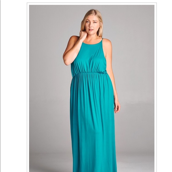 Bright Blue Plus Size Stretch Maxi Summer Dress